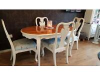 French extendable table 4 chairs shabby chic