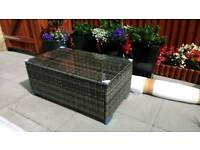 NEW Garden Patio poly rattan coffee table with glass top