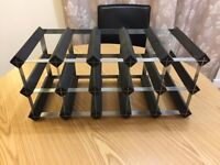 MOVING & MUST SELL: Classic 15 Bottle Black Stained Wood and Galvanised Metal Wine Rack