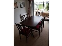 Stag extendable dining table with 6 chairs