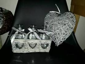 Gray wicker decorations