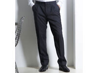 NEW Marks & Spencer M&S Mens Trousers with Wool Charcoal Waist 38, Leg 31 (W38 L31) Dark Grey Black