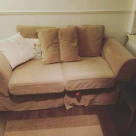 Light brown sofa bed two seater