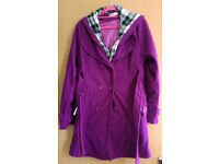 Womens Winter/Autmn purple colour long coat - new without tags. UK14-16 size