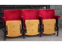 A Row of 3 Vintage Art Deco C1930s Red Velvet Cinema Seats REF103