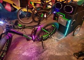 vibe car sound system on trailer for any bicycle- road to mountain bike custom, one of a kind