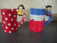 ** NEW ** 2 Madrid novelty mugs flamenco dancer and matador characters. £3 ovno both or £2 each