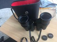 Vintage Pathescope 16x50 Good Quality De Luxe Binoculars Original Carry Case