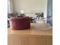 Casserole dish and chip fryer basket free to collector