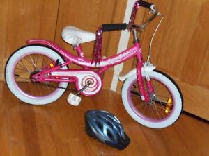 Vélo 16 pouce rose cream soda avec casque Bicyclette très propre