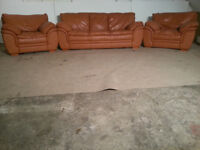 3 Seater & 2 Chairs Tan/Brown Leather Sofa Couch - DELIVERY AVAILABLE