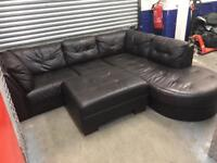 Genuine leather L shape sofa with storage stool, Free delivery