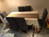 Erin Oak Dining Table and 6 Charcoal Fabric Chairs