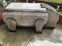 Large Solid Wood Hand-Carved Garden Ornament- HIPPO