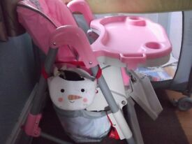 PINK- HIGH CHAIR WITH TRAY AND BASKET