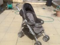 Mamas & Papas Pliko P3 Prammette-washed and cleaned,has hood,basket,extending handles-fully working