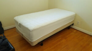 Single bed, box spring, and frame