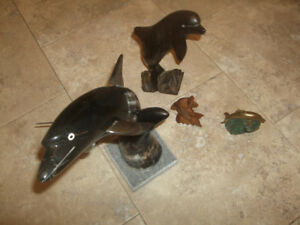 Dolphins, Bronze, 2X wood (lrg & sm), animal horn carving + clip
