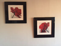 Two Poppy Pictures with black lacquer frame