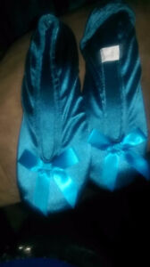 Satin Teal Slippers