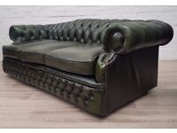 Antique Green Leather Chesterfield Sofa (DELIVERY AVAILABLE FOR THIS ITEM OF FURNITURE)