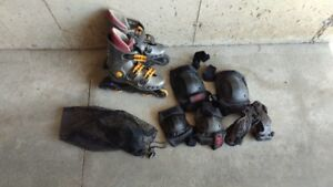 Kids size used Roller Skates + protective gear set $25 OBO