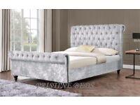 ❤Black Champagne & Silver❤ Brand New Double/King Diamonte Crushed Velvet Sleigh Bed & Mattress Range