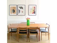 Vintage Danish extending teak table and 6 McIntosh chairs. Delivery. Modern / mid century / retro.