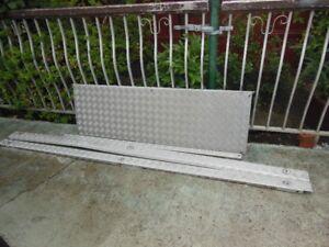 4 pice used checker plate aluminum rail capes
