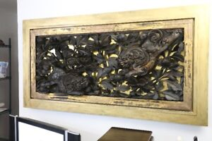 16th-17th century Gilt Ebony Framed Japanese IMPERIAL Ranma