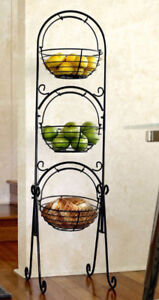 Wrought iron floor basket stand