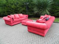 Giant Rossa-Red 3+3+ Pouffe With Black Piping