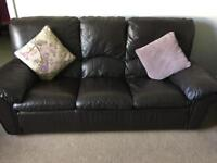 3, 2, 1 brown leather sofa