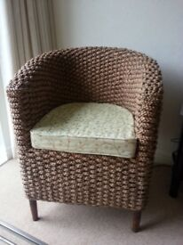Two tub chairs, suitable occasional/conservatory furniture. As new. With or without cushions