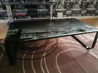 Glass top coffee table , new york brooklyn bridge