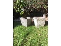 Vintage Weathered Stone/Concrete Pots/Planters x 2