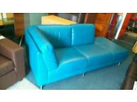 Chaise longe real leather sofa in turquoise