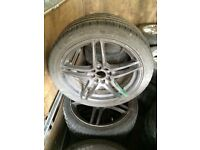 4 Vauxhall 4 stud multi fitment alloy wheels 3 legal tyres 17""