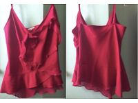 BEAUTIFUL 100% SILK KAREN MILLEN TOP, SIZE 12. ROSE DETAIL, WORN ONCE