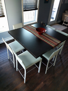 Dining table Espresso colour. Counter height with 6 chairs