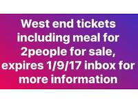West end London show tickets with meal x2