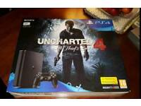 PS4 Slim console & Unchartered 4 game BRAND NEW IN SEALED BOX