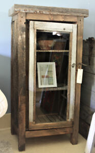 RUSTIC HANDCRAFTED SMALL DISPLAY CABINET WITH GLASS DOOR