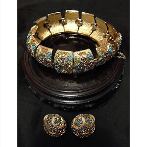 Vintage D'Orlan Bracelet and Pierced Earrings
