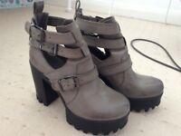 Grey Chunky Platform Boots