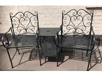Shabby Chic Heart Shape Metal Love Seat / Bench With Table