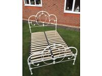 Metal double bed frame in cream