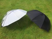 """Calumet 40"""" 2-in-1 Silver/White Studio Lighting Umbrella (x2)"""