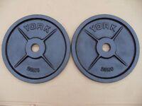 Pair of York 20kg Olympic discs