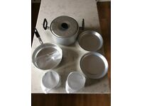 Aluminium cooking set.